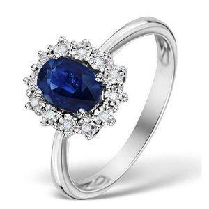 Blue ceylon sapphire with diamonds 3.00 carats Wed